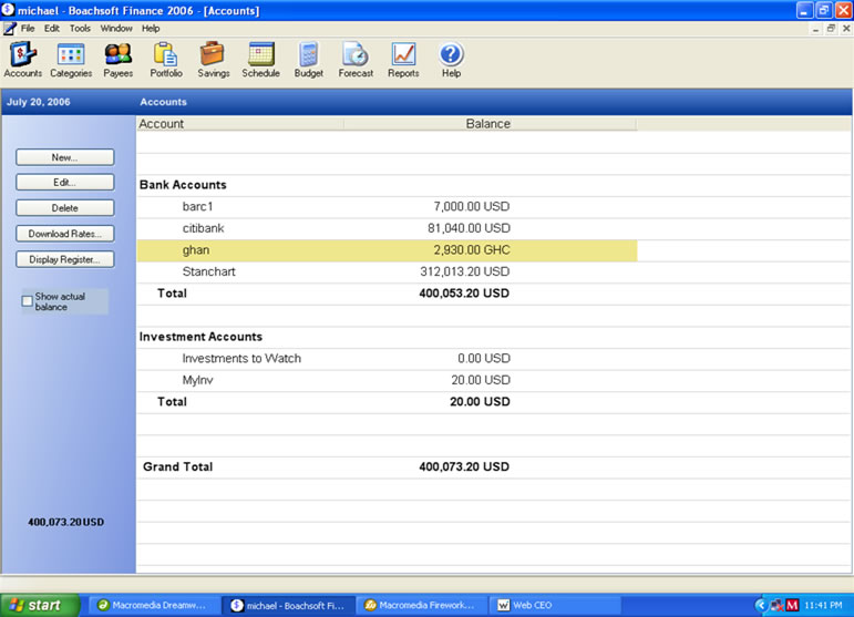 Boachsoft Finance Screen shot